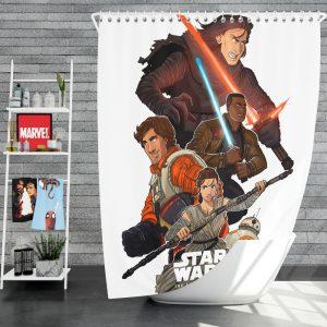 Star Wars Episode VII The Force Awakens Movie BB-8 Finn Kylo Ren Poe Dameron Shower Curtain