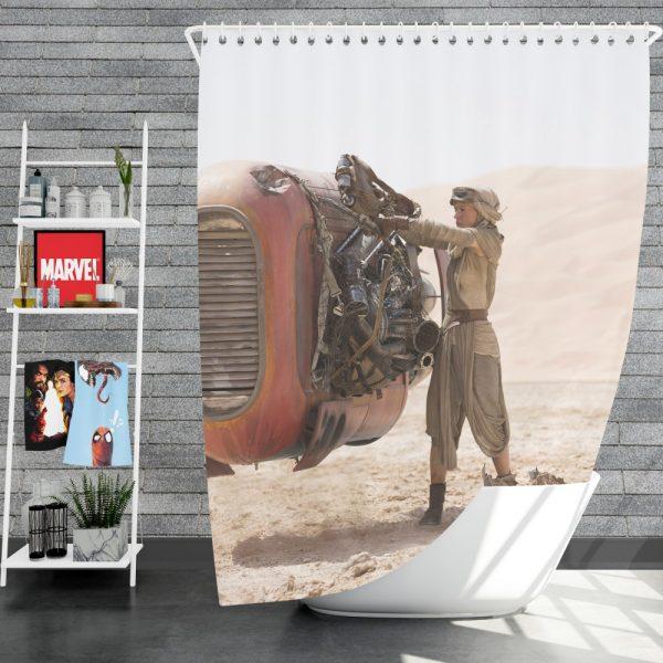 Star Wars Episode VII The Force Awakens Movie Daisy Ridley Rey Star Wars Shower Curtain