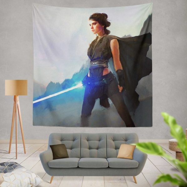 Star Wars Movie Artistic Daisy Ridley Jedi Lightsaber Rey Wall Hanging Tapestry