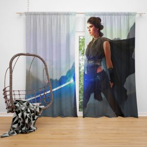 Star Wars Movie Artistic Daisy Ridley Jedi Lightsaber Rey Window Curtain