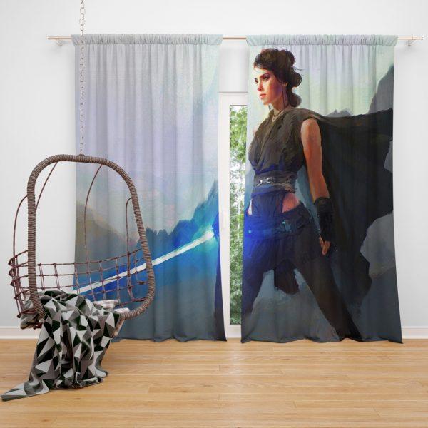 Star Wars Movie Artistic Daisy Ridley Jedi Lightsaber Rey Window Curtain