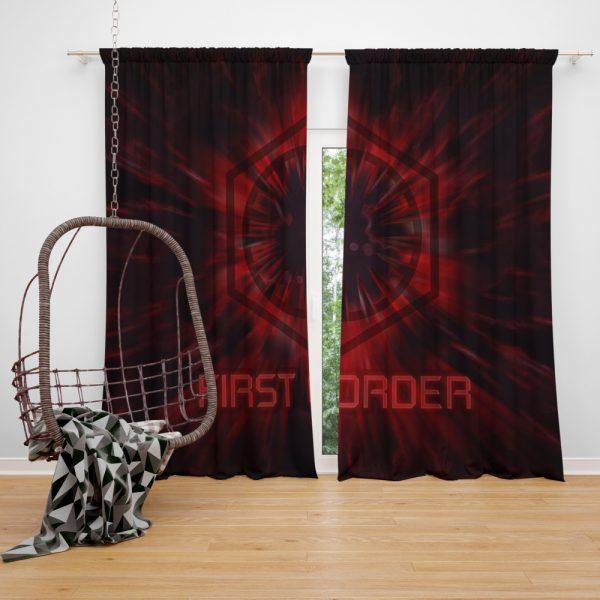 Star Wars Movie Black First Order Red Window Curtain