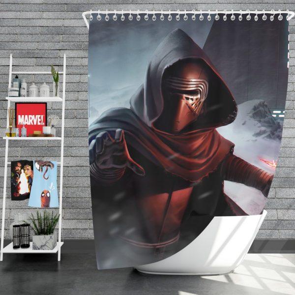 Star Wars Movie Kylo Ren Lightsaber Stormtrooper Shower Curtain