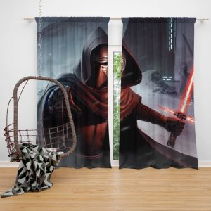 Star Wars Movie Kylo Ren Lightsaber Stormtrooper Window Curtain