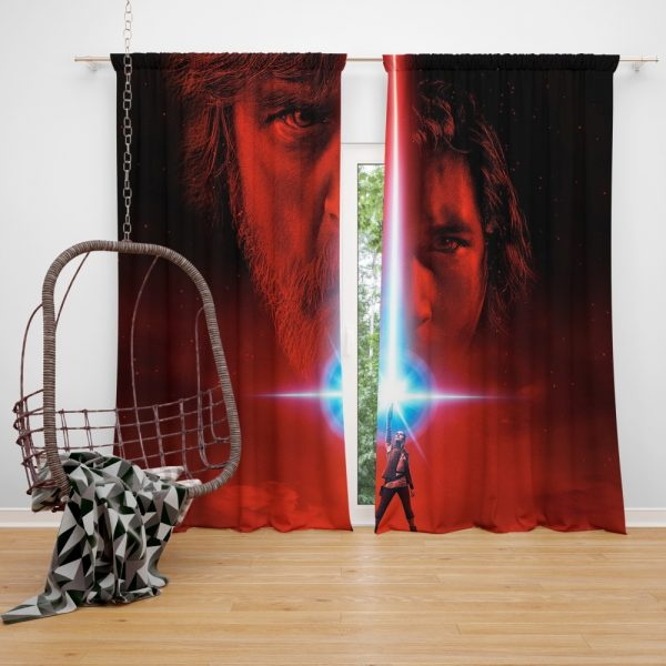 Star Wars The Last Jedi Movie Adam Driver Daisy Ridley Kylo Ren Luke Skywalker Mark Hamill Window Curtain