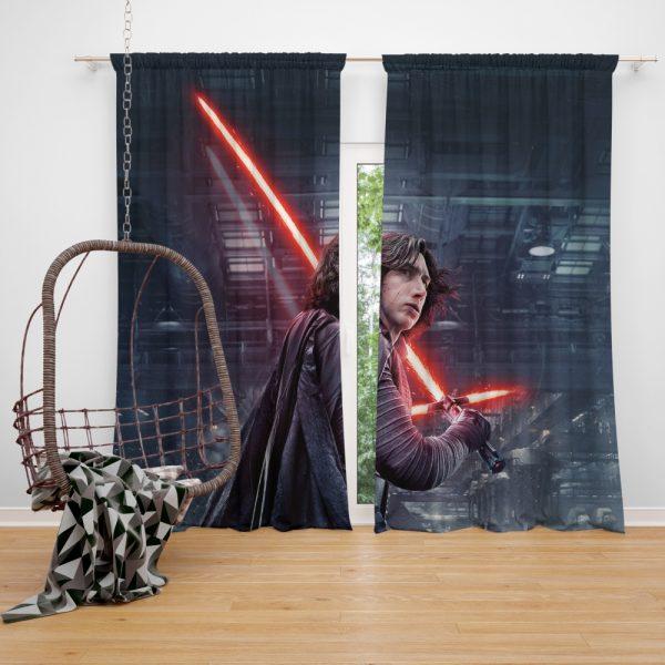 Star Wars The Last Jedi Movie Adam Driver Kylo Ren Window Curtain