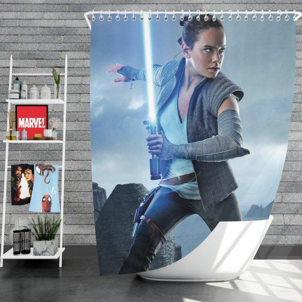 Star Wars The Last Jedi Movie Daisy Ridley Jedi Rey Star Wars Shower Curtain