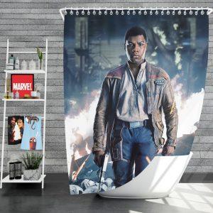 Star Wars The Last Jedi Movie Finn John Boyega Shower Curtain
