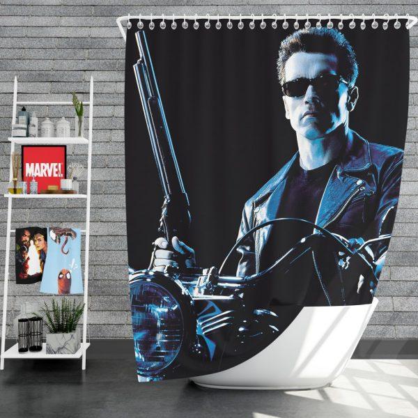 Terminator 2 Judgment Day Movie Arnold Schwarzenegger Shower Curtain