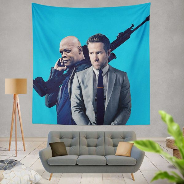The Hitman's Bodyguard Movie Ryan Reynolds Samuel L Jackson Wall Hanging Tapestry