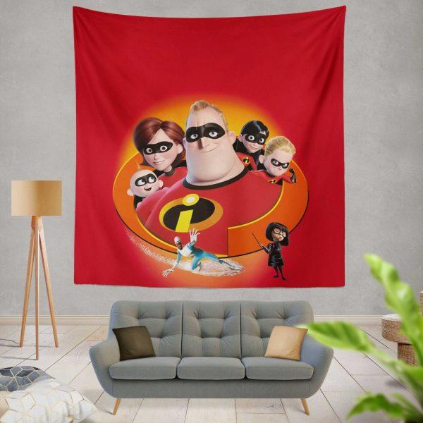 The Incredibles Movie Bob Parr Dash Parr Disney Elastigirl Helen Parr Wall Hanging Tapestry