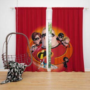 The Incredibles Movie Bob Parr Dash Parr Disney Elastigirl Helen Parr Window Curtain