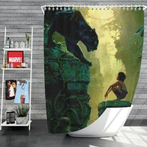 The Jungle Book 2016 Movie Bagheera Mowgli Shower Curtain