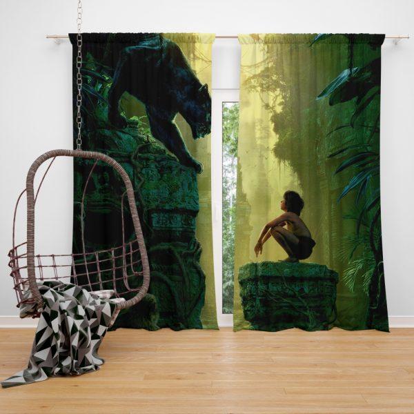 The Jungle Book 2016 Movie Bagheera Mowgli Window Curtain