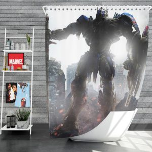 Transformers The Last Knight Movie Optimus Prime Robot Shield Sword Shower Curtain
