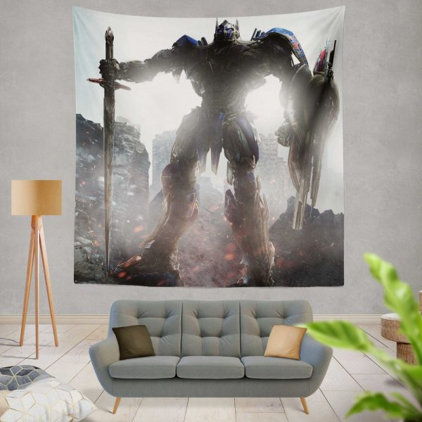 Transformers The Last Knight Movie Optimus Prime Robot Shield Sword Wall Hanging Tapestry
