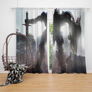 Transformers The Last Knight Movie Optimus Prime Robot Shield Sword Window Curtain