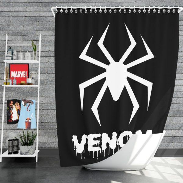 Venom Movie Black Shapes Symbol Venom Shower Curtain