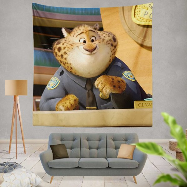 Zootopia Movie Benjamin Clawhauser Wall Hanging Tapestry