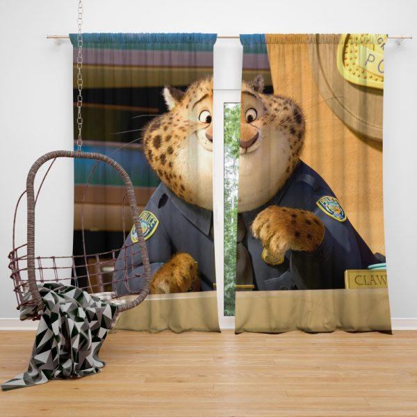 Zootopia Movie Benjamin Clawhauser Window Curtain