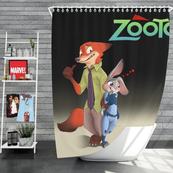 Zootopia Movie Judy Hopps Nick Wilde Shower Curtain