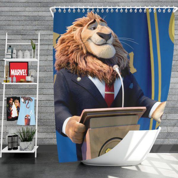Zootopia Movie Mayor Lionheart Shower Curtain