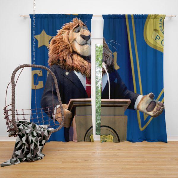 Zootopia Movie Mayor Lionheart Window Curtain