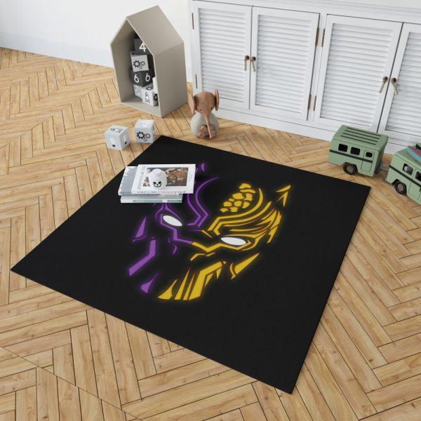 Black Panther Illustration Neon Bedroom Living Room Floor Carpet Rug 2