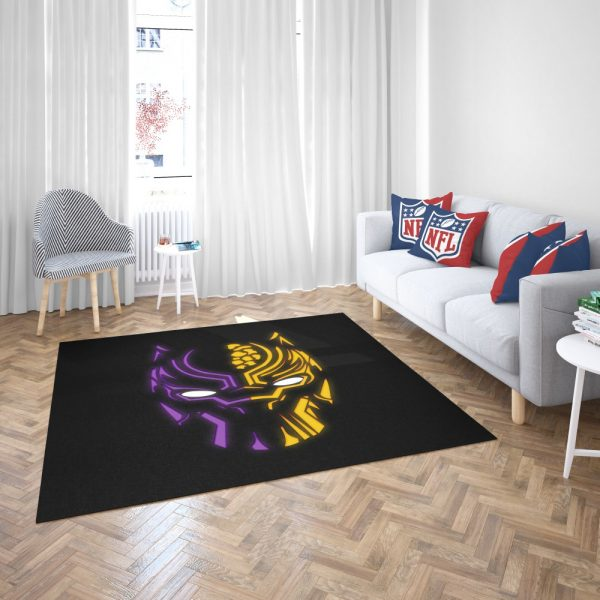 Black Panther Illustration Neon Bedroom Living Room Floor Carpet Rug 3