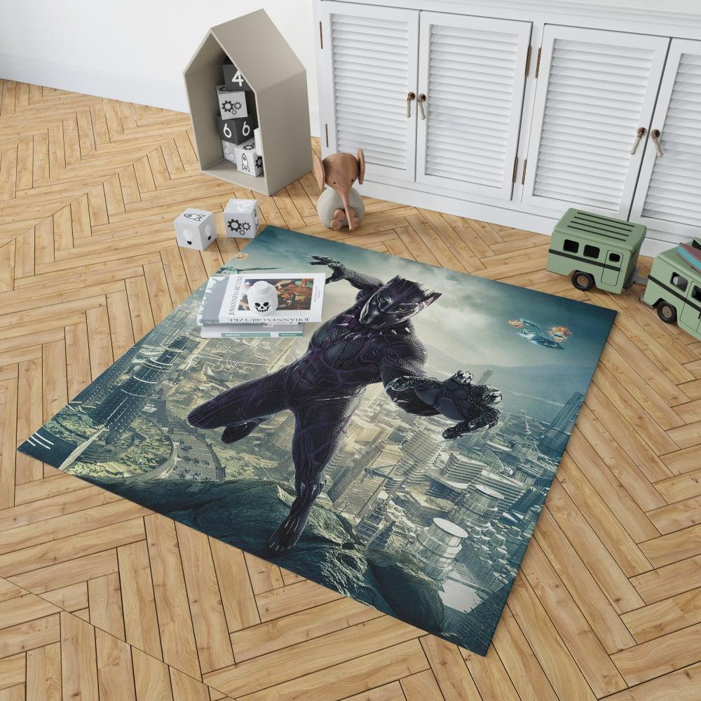 Black Panther Kids Teen Bedroom Living Room Floor Carpet