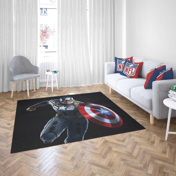 Captain America Superheroes Marvel Comics Bedroom Living Room Floor Carpet Rug 3