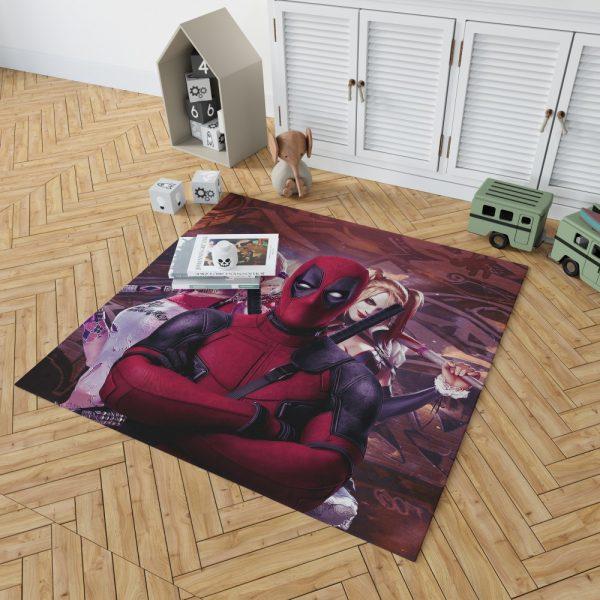 Deadpool and Harley Quinn Artwork Bedroom Living Room Floor Carpet Rug 2