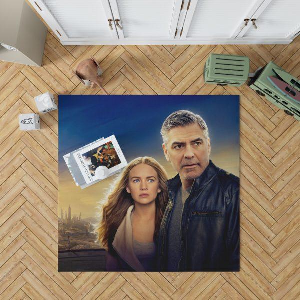 George Clooney & Brittany Robertson in Tomorrowland Movie Bedroom Living Room Floor Carpet Rug 1
