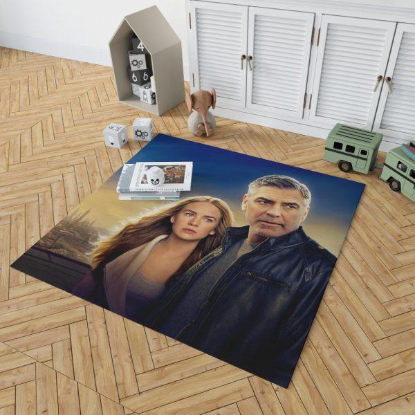 George Clooney & Brittany Robertson in Tomorrowland Movie Bedroom Living Room Floor Carpet Rug 2