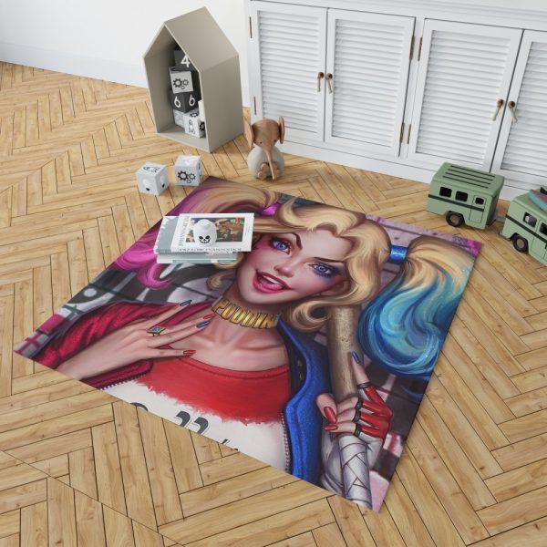 Harley Quinn DC Comics Artwork Bedroom Living Room Floor Carpet Rug 2