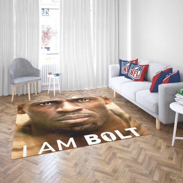 I am Bolt Movie Usain Bolt Bedroom Living Room Floor Carpet Rug 3