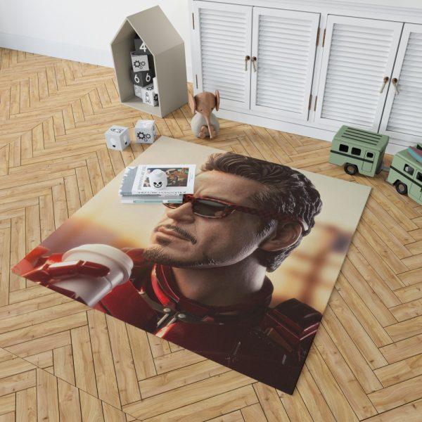 Iron Man Movie Figurine Robert Downey Jr Bedroom Living Room Floor Carpet Rug 2