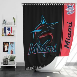 Miami Marlins MLB Baseball National League Bath Shower Curtain