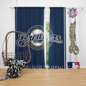 Milwaukee Brewers MLB Baseball National League Window Curtain