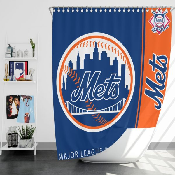 New York Mets MLB Baseball National League Bath Shower Curtain