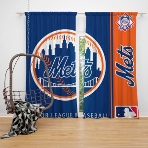 New York Mets MLB Baseball National League Window Curtain
