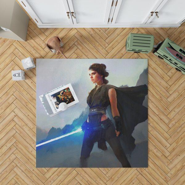 Star Wars Movie Artistic Daisy Ridley Jedi Lightsaber Rey Bedroom Living Room Floor Carpet Rug 1