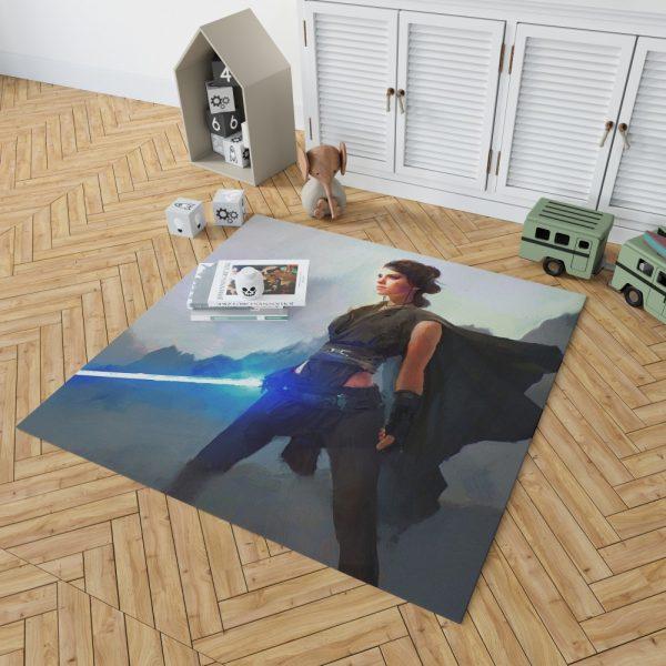Star Wars Movie Artistic Daisy Ridley Jedi Lightsaber Rey Bedroom Living Room Floor Carpet Rug 2