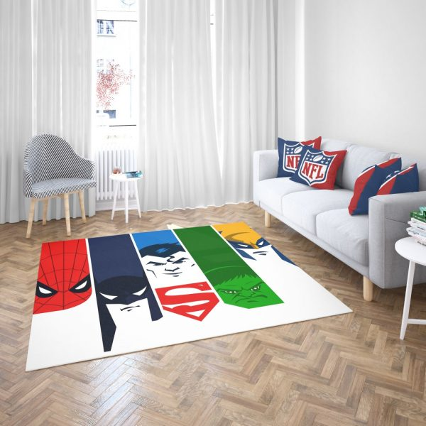Superheroes Spider Man Batman Superman Hulk Wolverine Bedroom Living Room Floor Carpet Rug 3
