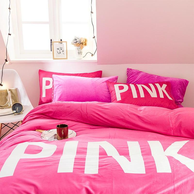 Cute Bed Set Queen Size Victoria Secret Pink