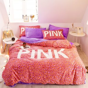 Pink Love Victoria Secret Bedding Set Queen