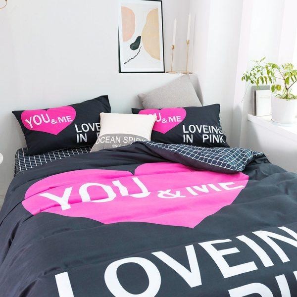 Pink Sets Victoria Secrets Queen Bedding Set 4