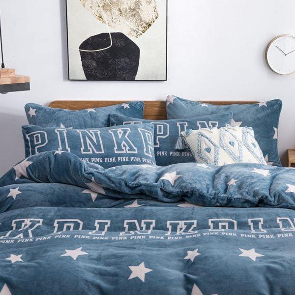 Pink Victoria Secret Queen King Blue Bayoux Color Velvet Bedding Set 10