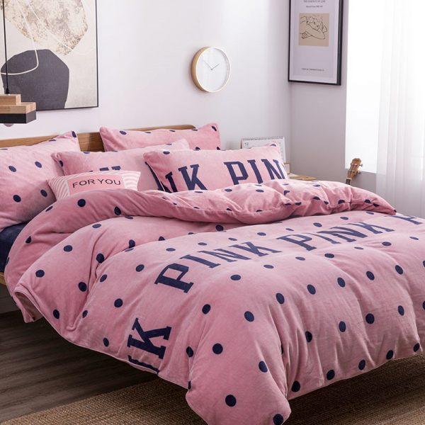 Pink Victoria Secret Queen King Old Rose Velvet Bedding Set 12