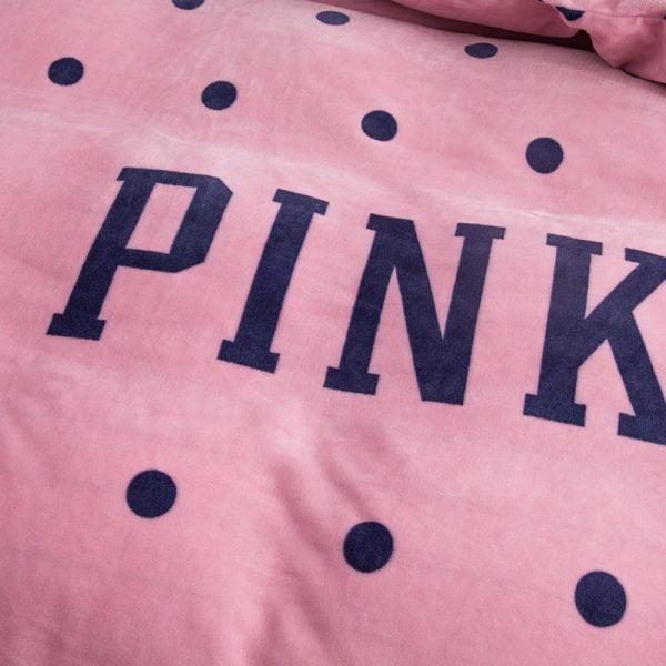 Pink Victoria Secret Queen King Old Rose Velvet Bedding Set 9